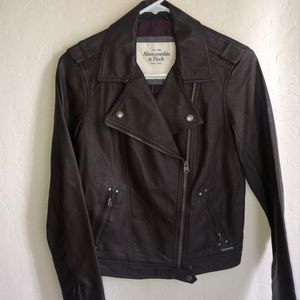 ABERCROMBIE&F || brown leather jacket